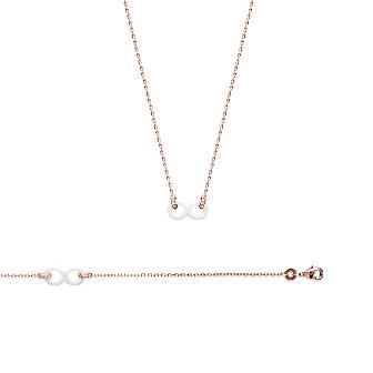 Collar Plaqué Oro 750 milésimas. 3 Micras Rosa Circonita Cerámica